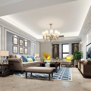 吊灯,欧式,沙发茶几组合,桌椅组合,植物,客厅,简欧