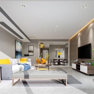 沙发茶几组合,桌椅组合,植物,客厅,置物柜,美式简约