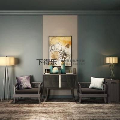 椅子, 落地灯, 边柜, 新中式, 陈设品组合, 下得乐3888套模型合辑