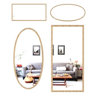 现代简约木纹边框镜子
