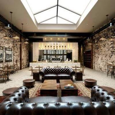 餐厅, 美式, 工业风, 桌椅组合, 沙发, 吊灯