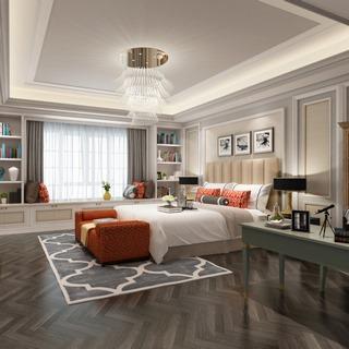 吊灯,床,卧室,桌椅组合,置物架,美式简约