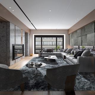沙发椅,沙发茶几组合,落地灯,美式,客厅,电视