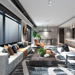 沙发茶几组合,植物,美式,现代简约,客厅,陈设品