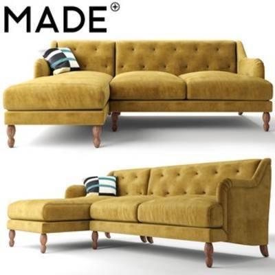 意大利Ariana, 黄色, 多人沙发, 沙发, 欧式
