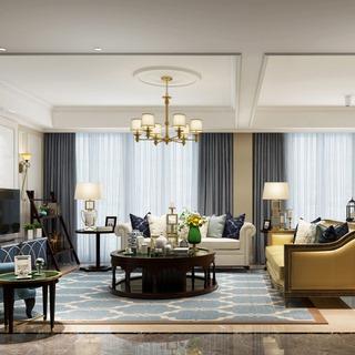 吊灯,沙发茶几组合,客厅,陈设品,欧式简约