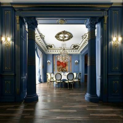 餐具, 餐厅, 古典, 桌椅组合, 欧式, 吊灯
