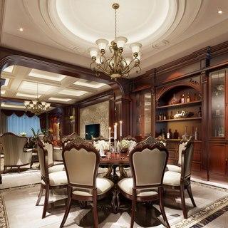 吊灯,欧式,桌椅组合,古典,客厅,置物柜,餐具