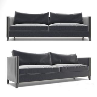 现代黑色双人沙发