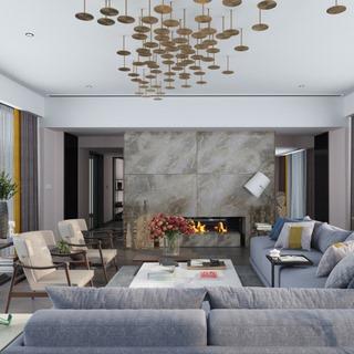 美式现代简约客厅