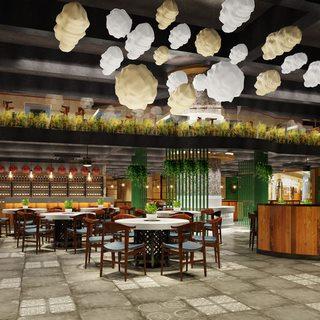 吊灯,桌椅组合,餐厅,东南亚,餐具,吧台