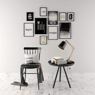 椅子,台灯,桌椅组合,装饰画,北欧简约