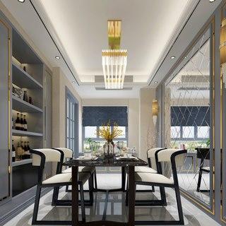 吊灯,桌椅组合,餐厅,置物柜,欧式简约