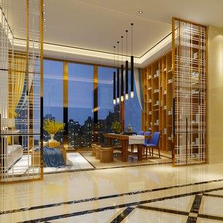 吊灯,沙发茶几组合,新中式,会客室
