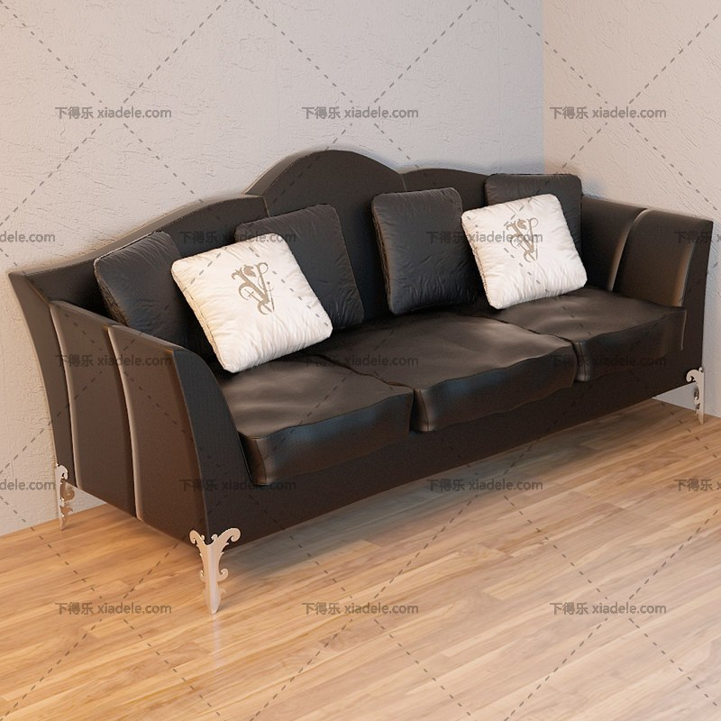 欧式古典黑色皮质沙发组合