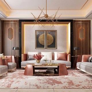 吊灯,沙发茶几组合,现代,美式,客厅