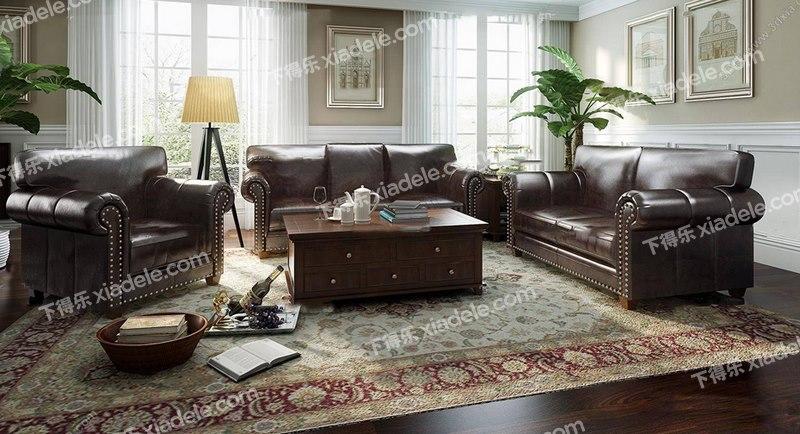 美式乡村古典皮质沙发组合