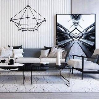 沙发组合,吊灯,沙发茶几组合,北欧简约