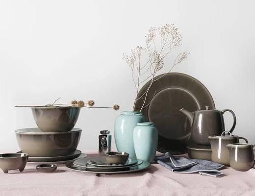 北欧简约瓷器茶具组合, 北欧简约瓷器组合, 简约瓷器组合, 北欧茶具组合, 茶具组合, 瓷器组合, 餐具组合, 餐具