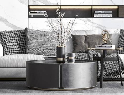 沙发组合, 茶几组合, 吊灯, 单椅