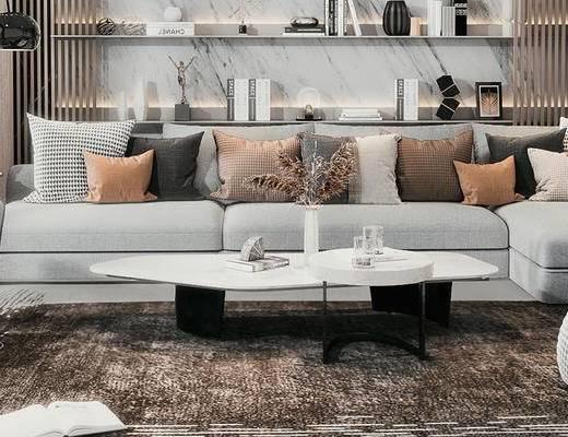 客厅, 沙发组合, 茶几组合, 置物柜, 单椅, 吊灯