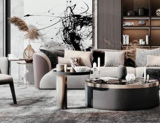 沙发组合, 茶几组合, 单椅, 置物柜, 背景墙