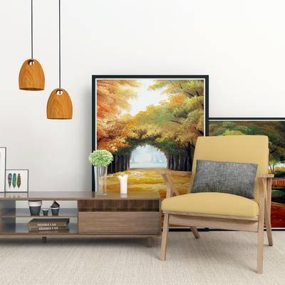 北欧电视柜, 电视柜, 单椅组合