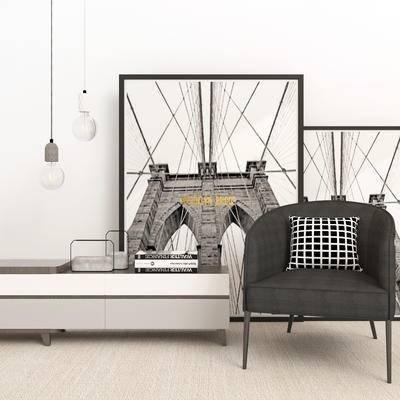 现代电视柜, 电视柜, 单椅组合