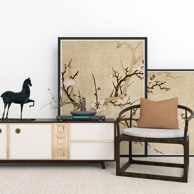 新中式电视柜, 电视柜, 单椅组合