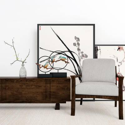 中式电视柜, 电视柜, 单椅组合