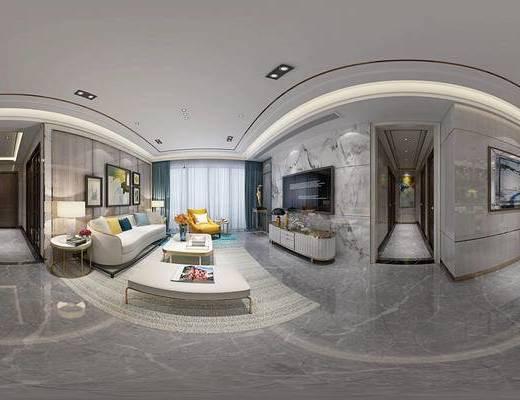 现代客厅, 现代餐厅, 沙发, 茶几, 电视柜, 餐桌, 椅子, 桌椅组合, 过道