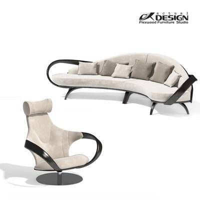沙发组合, 多人沙发, 椅子, 现代
