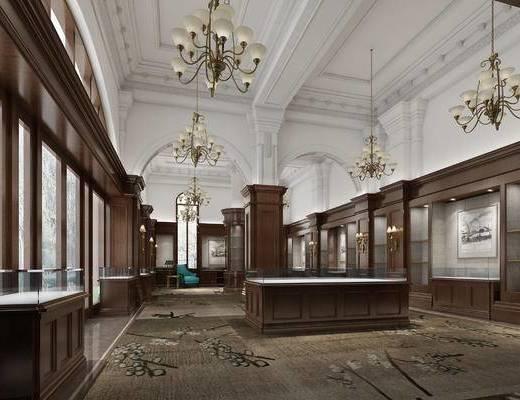 现代售楼部, 吊灯, 壁灯, 椅子, 展柜, 现代