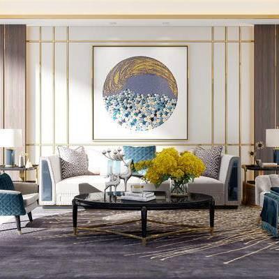 沙发组合, 椅子, 多人沙发, 壁画, 边几, 台灯, 茶几, 花瓶, 地毯, 新中式