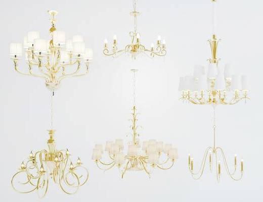 美式简约, 水晶吊灯, 美式吊灯, 灯具, 下得乐3888套模型合辑