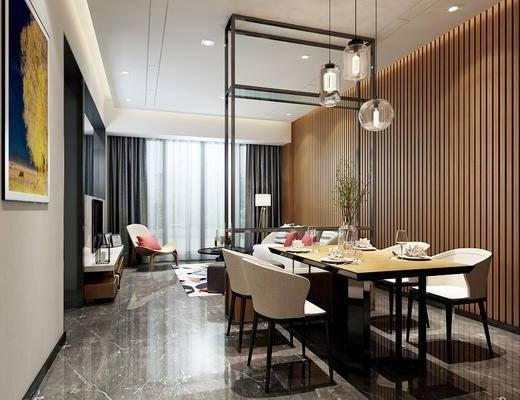 北欧, 客厅, 餐厅, 沙发, 茶几, 落地灯, 吊灯, 餐桌, 椅子, 餐具, 花瓶, 1000套空间酷赠送模型