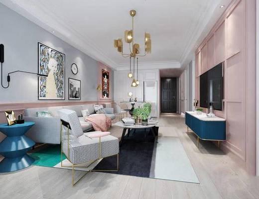 现代, 客厅, 沙发, 茶几, 吊灯, 挂画, 电视柜, 盆栽, 摆件