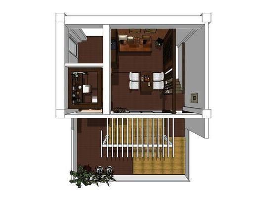 复式别墅, 客厅, 沙发组合