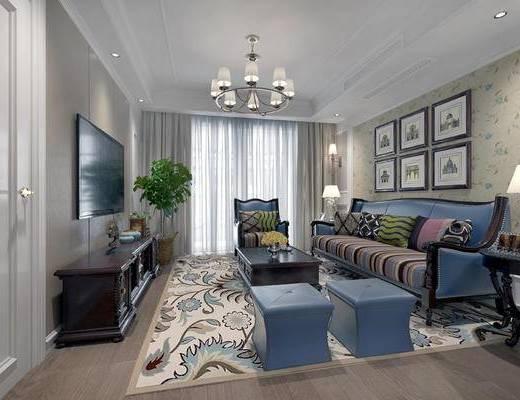 美式客厅, 美式餐厅, 客厅, 餐厅, 美式沙发, 美式吊灯, 电视柜, 盆栽, 边柜, 台灯