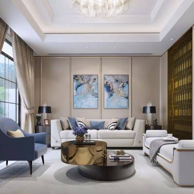 现代客厅, 沙发茶几组合, 壁画, 吊灯, 台灯, 摆件组合, 多人沙发, 地毯, 现代