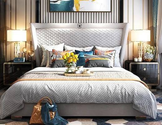 床具组合, 双人床, 壁画, 床头柜, 台灯, 后现代