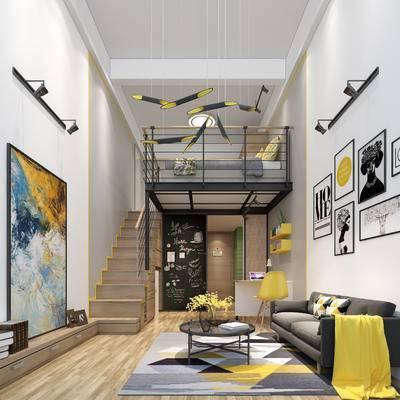 简欧公寓, 吊灯, 壁画, 多人沙发, 茶几, 椅子, 地毯, 简欧
