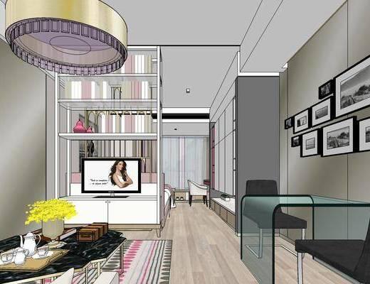 现代公寓, 壁画, 吊灯, 置物柜, 多人沙发, 茶几, 桌子, 椅子, 双人床, 现代