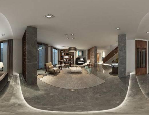 现代客餐厅, 落地灯, 多人沙发, 桌子, 椅子, 置物柜, 茶几, 现代