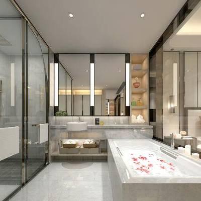 卫浴, 浴缸, 洗手台, 淋浴间, 壁灯, 镜子, 现代