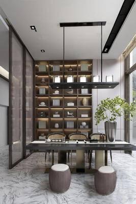 新中式, 书房, 置物架, 吊灯, 桌椅组合, 下得乐3888套模型合辑