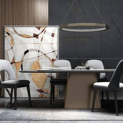 桌椅组合, 壁画, 桌子, 椅子, 吊灯, 现代