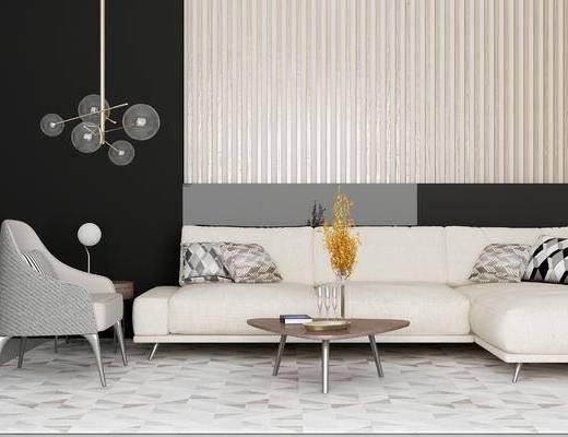 现代沙发组合, 多人沙发, 茶几, 沙发椅, 吊灯, 摆件, 现代