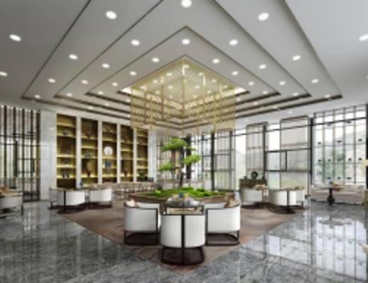 新中式酒店大堂, 沙发茶几组合, 吊灯, 壁灯, 落地灯, 单人沙发, 桌椅组合, 置物柜, 新中式