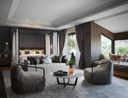 卧室, 床, 现代, 沙发, 茶几, 花瓶, 吊灯, 植物